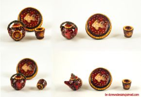 Fire Fish Minature Tea Set by Skyelark