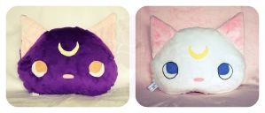 Luna and Artemis Pillows by ShadowedPorcelain
