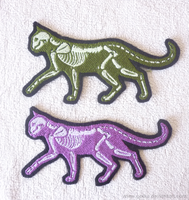 Green and purple X-ray cat GLOW patches by goiku