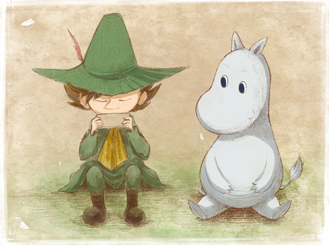 Moomintroll and Snufkin by robotoco