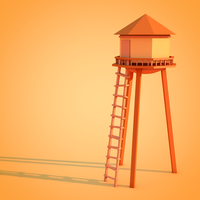 Low Poly Asset #3: Wood Water Tower by ImadEdd