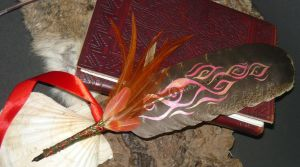 Pheonix - painted feather-quill by Ganjamira