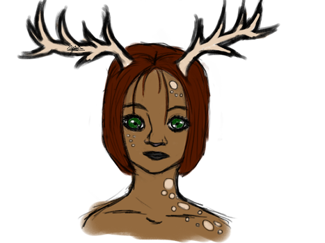 Girl with antlers by queenzion