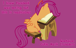 Scootaloo's thoughts on facebook by LazyPixel