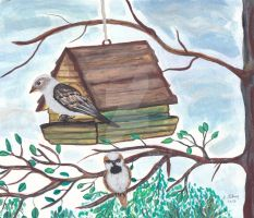 House Sparrows Painted by sallygilroy