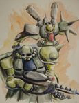 Zaku Watercolors by gsilverfish