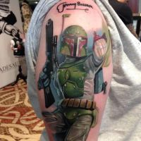 Boba fett tattoo signed by Jeremy Bulloch by The-Second-Avenger