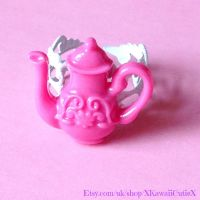 Teapot Ring, Pink Kawaii Lolita Tea Party by xhellojackiex