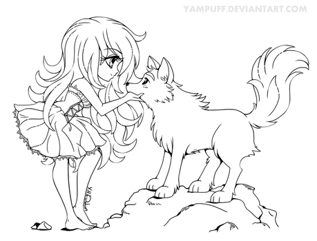 Chibi with Wolf - Lineart Commission by YamPuff