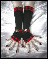 Under a Red Moon Arm Warmers by ZenAndCoffee