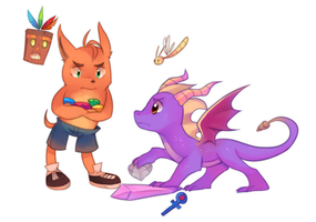 Bandicoot and Dragon by pekou