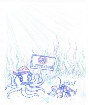 Octopus Park Ranger scolding a Littering Lobster by toonishdreams