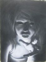 Self-portrait in charcoal by peches-et-poires