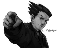 Phoenix Wright sketch  by nin-mario64