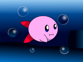 Kirby swimming by PikachuFan60