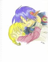 Chrono and Rosette by Fawks666
