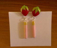 Strawberry Studs w/ Dangling Strawberry Pocky by iferania