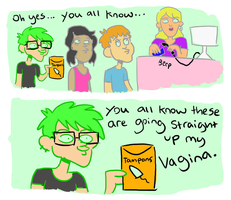 Me buying tampons by indecisivepancake