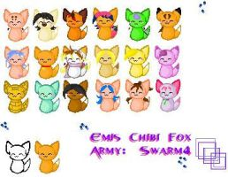 Chibi Fox Army : Swarm 4 by inuamy
