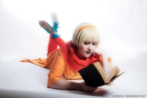 A girl and her book by Jayuna