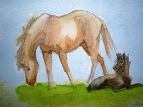 Mare and Foal by emeriel