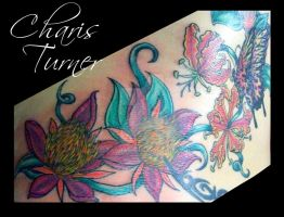 Butterfly and Flower Backpiece (Pt.2) by Metacharis