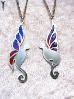 Fairy Wing Cat Pendants by TrollGirl