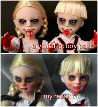 Living Dead Dolls before and after repaint by kamarza