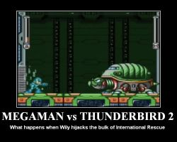 Megaman vs Thunderbird 2 by DBurch01