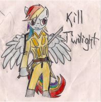 Rainbow Dash as Beatrix Kiddo by RayFriedh