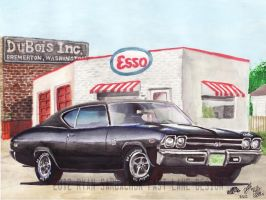 1969 Chevy Chevelle At Esso (Painting) by FastLaneIllustration