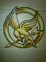 Mockingjay Pin - Perler or Hama by Chrisbeeblack