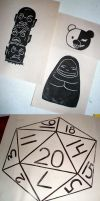 D20, Spirited Away, Monobear - Lino Tests by 13anana