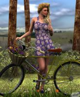 A Girl and Her Bicycle by twosheds1