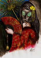 Gas Mask Geisha by andy123321