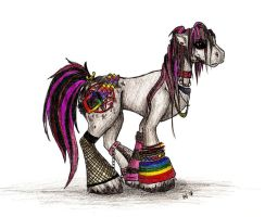 Rainbow Emo Pony by cresent-lunette