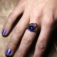 Blue steampunk Crystal Ring by CatherinetteRings