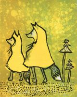 Foxes in Yellow Rain Ponchos by Tawastman