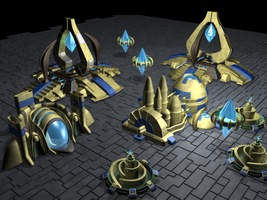 Protoss Buildings by Pixel-Sage