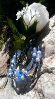 Blue Glass And White Pearl Memory Wire Bracelet by Rini-Dragoone