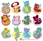 little Zodiac dragons by kinkei