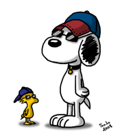 Snoopy and Woodstock by silana