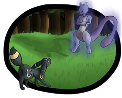 Umbreon and Mewtwo by Difixini