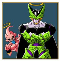 Cell and Buu by vansolt