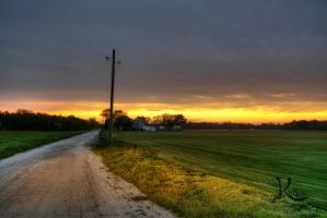Sunset and Headlights by AbstractedRealism