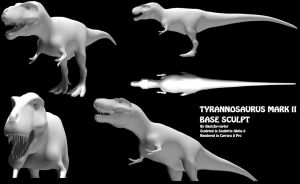 Tyrannosaurus 3D model MK.II - Base Sculpt (WIP) by Sketchy-raptor