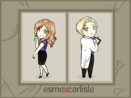 Esme and Carlisle Chibified by vanipy05