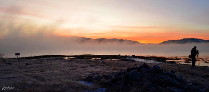 Sea Smoke, Frost and Sunset by Roshila