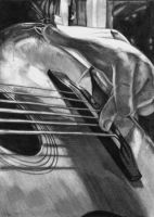 Strumming - Pencil Portrait by DragonPress