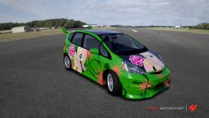 Fluttershy car on the Top Gear test track by PetrolHeadBellsprout